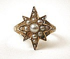 Striking Mourning Ring, Star of Pearls, 1871