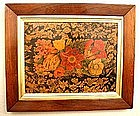 Unusual Penwork Wooden Floral Picture c 1800
