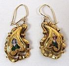 Pretty Victorian 14k Gold and Enamel Earrings, Ladies