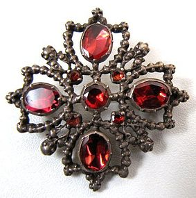 Lovely Silver and Tourmaline Brooch