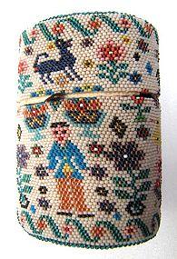 Antique Beadwork Case, Man, Woman, Ducks
