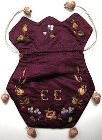 Pretty Aubergine Silk Reticule, Initials and Flowers