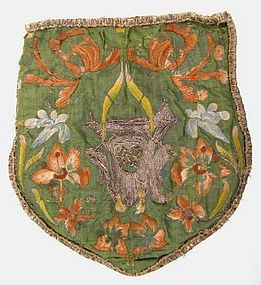 Terrific 17th C French Embroidered Miter-Shaped Purse