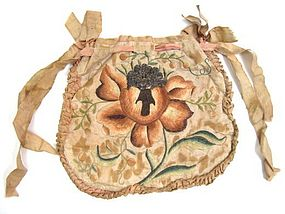 Double-Sided Ivory Silk Embroidered Purse, 1730-1750