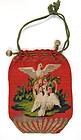 Early 19th C Crocheted Purse, Doves