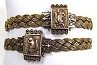 Pair of Antique 14k Woven Bracelets, Squirrels!