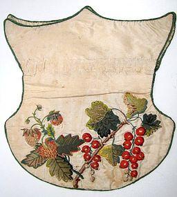 Shield-Shaped Silk Reticule, Strawberries, Rosehips