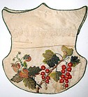 Shield-Shaped Silk Reticule, Strawberries, Rosehips