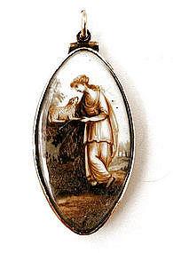 Georgian Mourning Brooch, Lady & Lamb