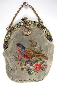 Superb Antique Purse, Petit Point on Netting, Bird