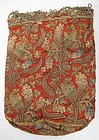 Dramatic 18th C Tobacco Pouch, Silk, Metal Embroidery