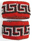 Pair of Beaded Victorian Napkin Rings, Greek Key