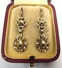 Superb Gold and Collet-Set Diamond Georgian Earrings