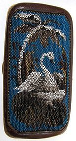 Antique Beaded and Leather Cheroot Case, Swan