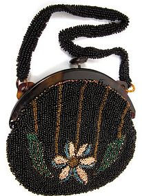 Art Deco Beaded Purse, Flower and Leaf Motif