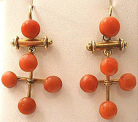 Articulated Victorian Coral & 9k Earrings