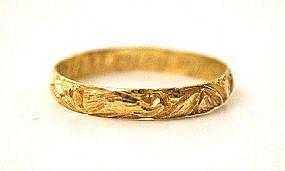 Rare Early 18th C Posy Ring, 18k