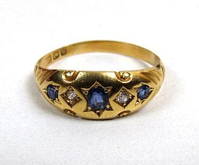 Classic Edwardian 18K and Sapphire Gypsy Ring