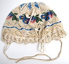 Delicate 19th C Netted and Beaded Baby Cap