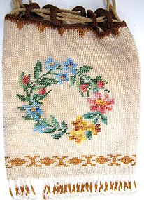 Pretty 19th C Micro Beaded Reticule, Wreath