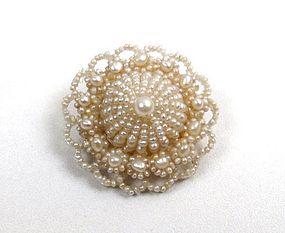 Pretty Antique Seed Pearl Brooch, Wedding Cake