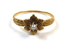 Sweet Antique 14K Gold and Pearl Ring, Flower