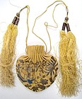 Antique Chinese Silk Purse, Couched Silver Thread