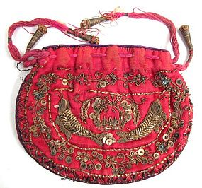 Silk Embroidered Purse, Indian for Chinese Market