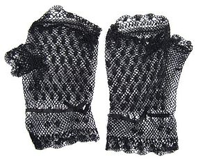 Short Pair of Black Victorian Netted Fingerless Mitts