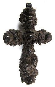 Ornate 19th C Vulcanite Mourning Cross
