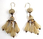 Fantastic 19th C Table-Worked Blond Hair Earrings