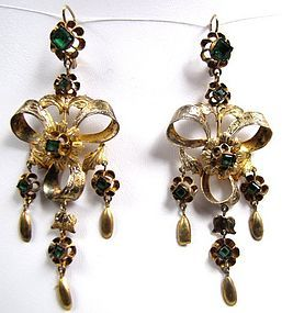 Stunning 18th C Gilt and Emerald Pendant Earrings