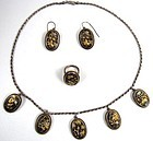 Superb Antique Shakudo Parure, Necklace, Earrings, Ring