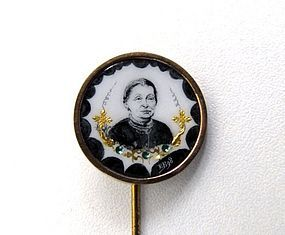 Unusual 19th Mourning C Stick Pin, Woman