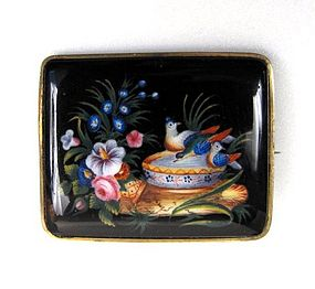 Pretty Pin Victorian Painted Pin on Onyx, Birds