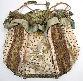 1830's Ladies' Reticule, Metallic Lace, Spangles