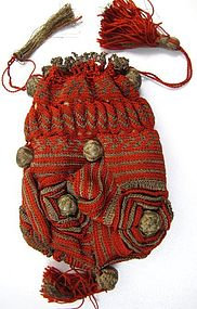 Unusual Red and Gilt Metal Thread 19th C Purse