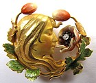 Superb Krementz Art Nouveau Enamel Brooch, Woman
