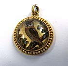Rare Victorian Essex Crystal Pendant, 18K Gold, Owl!
