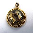 Rare Victorian Essex Crystal Pendant, 18K Gold, Owl!