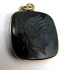Antique Bloodstone Intaglio Pendant, Head of Apollo