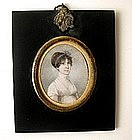 English School Portrait Miniature, Lady, 1820