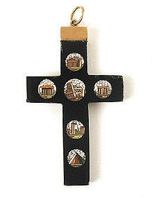 Victorian Micro Mosaic Cross with 6 Mosaics