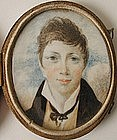 English School Portrait Miniature of Boy 1820