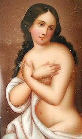 Miniature Portrait Lovely Nude, 19th C German