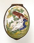 Charming 18th C Enamel Snuff or Patch Box