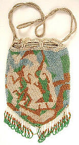 Rare Antique Micro Beaded Purse Asian Dancers