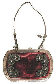 Charming Tiny Velvet Metal Frame Purse, 1850