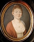 Charming French Portrait Miniature, Lady 1810