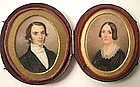Portrait Miniature Pair, Husband & Wife